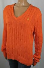 Ralph Lauren Orange Cable Knit V-Neck Sweater Yellow Pony NWT