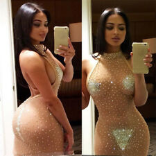 Womens Halter Backless Sequined Sheer Mesh See Through Bodycon Party Dress CLUB