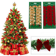 Christmas Tree Bow Decoration Baubles XMAS Party Garden Bows Ornament 12pack/lot