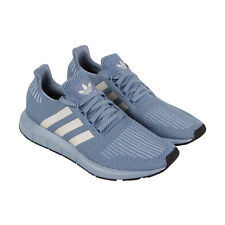 Adidas Swift Run Mens Blue Textile Athletic Lace Up Training Shoes
