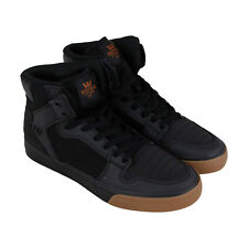 Supra Vaider Mens Black Leather & Canvas High Top Lace Up Sneakers Shoes