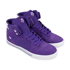 Supra Vaider Mens Purple Suede & Canvas High Top Lace Up Sneakers Shoes