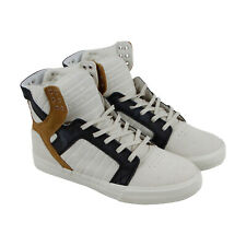 Supra Skytop Mens Beige Suede High Top Lace Up Sneakers Shoes