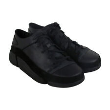 Clarks Trigenic Evo Mens Black Leather Low Top Lace Up Sneakers Shoes