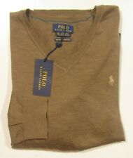 Polo Ralph Lauren Men's Brown Washable Merino Wool V-Neck Pullover Sweater