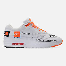 AUTHENTIC NIKE Air Max 1 Lux JUST DO IT JDI White Black Total Orange Women size