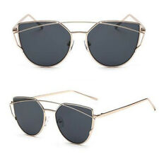 Women's  Fashion HOT Sunglasses Flat Lens Mirror Metal Frame Oversized Cat Eye