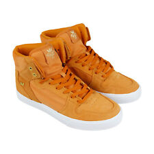 Supra Vaider Mens Tan Suede & Canvas High Top Lace Up Sneakers Shoes