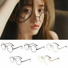 Women Men Retro Large Oversized Metal Frame Clear Lens Round Circle Eye Glasses