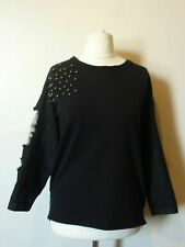Reserved Embellished Top with Distressed Denim Sleeves Size XS or L BNWT Black