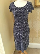 New WHITE STUFF Ladies Cotton Jersey Blue Floral Printed Dress 8 10 RRP £55