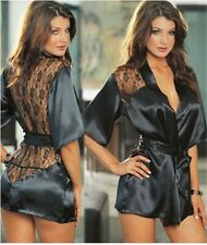 1PCS Hot Sexy Lingerie Plus Size Satin Lace Black Kimono Intimate Sleepwear