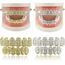 Gold Plated Hip Hop Diamond Teeth Grillz Mouth Cap Top Bottom Tooth Grill Set