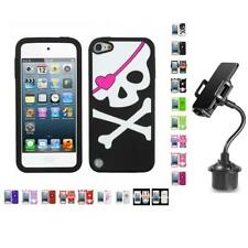 For Apple iPod Touch 5th 6th Gen Silicone Design Soft Case Cover + Cup Mount