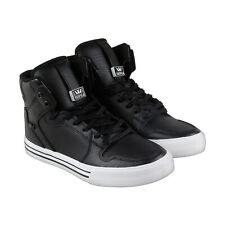 Supra Vaider Mens Black Leather High Top Lace Up Sneakers Shoes