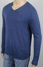 Polo Ralph Lauren Blue Merino Wool V-Neck Slim Fit Stretch Sweater NWT $165