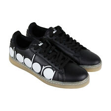 Diadora Game Bolder Mens Black Leather Low Top Lace Up Sneakers Shoes