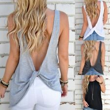 Sexy Backless Sleeveless Knotted Tank Top Open Back Women Cotton Vest Top Shirt