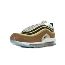 """Chaussures Baskets Nike homme Air Max 97 """"Barcode"""" taille Marron Cuir Lacets"""