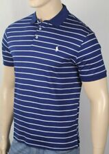 Polo Ralph Lauren Navy Blue Grey Custom Slim Fit Short Sleeve Shirt White Pony N