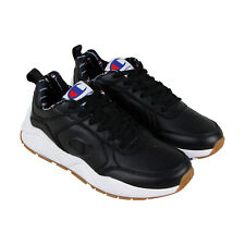 Champion 93 Eighteen Mens Black Leather Low Top Lace Up Sneakers Shoes