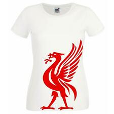 Ladies White Liverpool FC Liver Bird Mascot T-Shirt Shirt YNWA Football