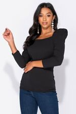 Black Puff Sleeve Square Neck Long Sleeve Top