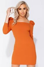 Rust Puff Sleeve Square Neck Long Sleeve Bodycon Dress