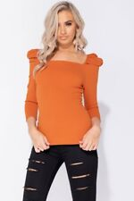 Rust Puff Sleeve Square Neck Long Sleeve Top