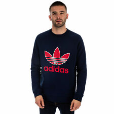 Mens adidas Originals Trefoil Crew Neck Sweatshirt In Collegiate Navy
