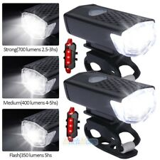 8000 Lumen USB Rechargeable Cycling Light Bicycle Bike LED Front Rear Lamp Set