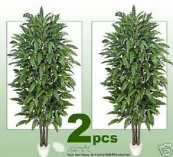 Two 7' Mango Real Wood Artificial Tree Plant In Pot Décor