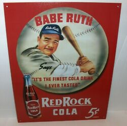 Babe Ruth-red Rock Cola 5 Cents`the Finest Cola Drink-metal Sign`new-free To Us