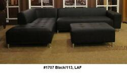 Modern Contemporary Design Black Leather Sectional Sofa 4 Pieces Set 1707