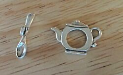 Sterling Silver Lg Tea Pot 16x23mm Teapot And Spoon 9x23mm Bar Toggle Clasp