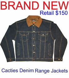 Cacties Western Range Jean Country Denim Rugged Leather Collar Jeans Jacket 150