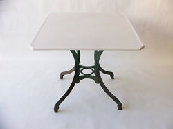 1900-1950 American Green Painted Cast Iron Table W/ White Vitrolite Glass Top