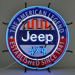 Wholesale Lot Of 6 Dealership Neon Signs And Clock Jeep Chrysler Willys Willyand039s