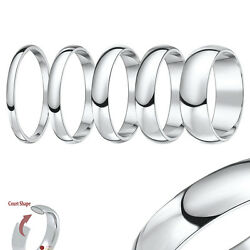 18ct White Gold Ring Heavy Court Shaped Wedding Ring Band