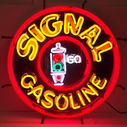 Gilmore Neon Sign Roar With Lion Gasoline Gas Oil Pump Globe Lamp Wall Light