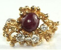 Vintage 14k Gold 1950and039s Hand Wrought Modernist Ruby Diamond Ring Free Resize