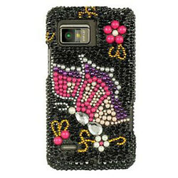 Black Butterfly Crystal Bling Hard Case Cover For Verizon Motorola Droid Bionic