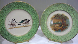 2 Salem China USA 23kt Gold Trim Plate w Hanger Green border Car amp; Colonial 10 ¾