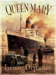 Queen Mary Ocean Cruise Liner Ship Boat Old Vintage Mg Car Small Metal Tin Sign