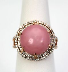 Amazing Pink Opal Solitaire 11.60 Cts W/double Dia. Surround 14k Rose Gold 6.5