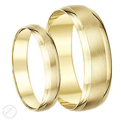 18ct Yellow Gold His And Hers Matt And Polished 4and6mm / 5and7mm D Shape Wedding Rings
