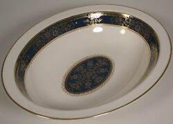 Royal Doulton China Carlyle Oval Serving Bowl Blue Flowers Gold Teal England