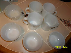 Lot Of 8 X Vintage Fire King And Ah 4 Milk Glass Coffee Mugs / 4 Bowls Exc Cond
