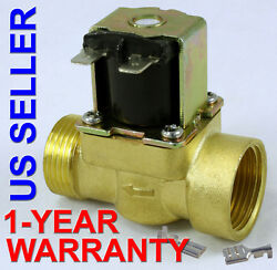 3/4 In 110v-120v Ac Slim Brass Solenoid Valve Nps Gas Water Air Normally Closed