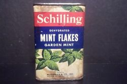 Schilling Dehydrated Garden Mint Flakes Spices Vintage Tin Mccormick U.s.a. Full